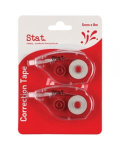STAT CORRECTION TAPE 5MMX8M,Clear Pack Of 2