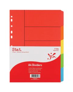 STAT DIVIDER A4 MANILLA BRIGHT,Assorted 5 Tabs