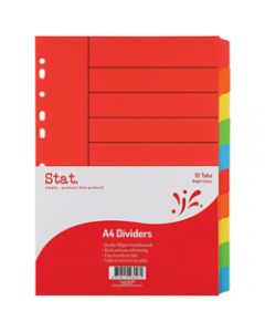 STAT DIVIDER A4 MANILLA BRIGHT,Assorted 10 Tabs