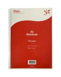 STAT NOTEBOOK A4 7MM RULED,60Gsm Red 120 Pages