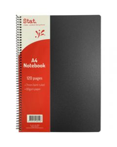 STAT NOTEBOOK A4 7MM RULED,60Gsm Black Pp Cover 120 Pages