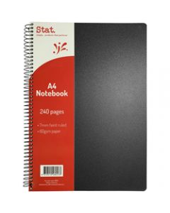 STAT NOTEBOOK A4 7MM RULED,60Gsm Black Pp Cover 240 Pages