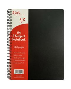 STAT NOTEBOOK A4 7MM RULED,60Gsm Black 5 Subject Pp Cover,250 Pages