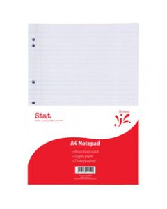 STAT NOTEPAD A4 7MM RULED,55Gsm White 7 Hole Punched,50 Sheet