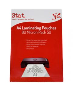STAT LAMINATING POUCH A4,80 Micron Clear Pack of 50