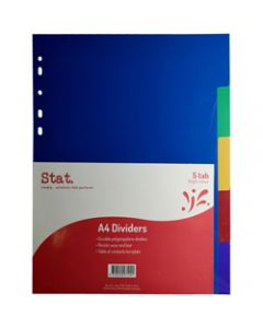 STAT DIVIDERS,A4 PP 5 Tab Assorted