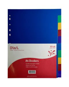 STAT DIVIDERS,A4 PP 10 Tab Assorted