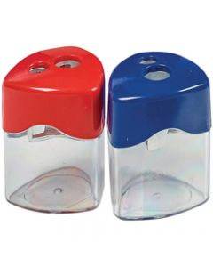 STAT SHARPENER DOUBLE,Metal With Canister Assorted
