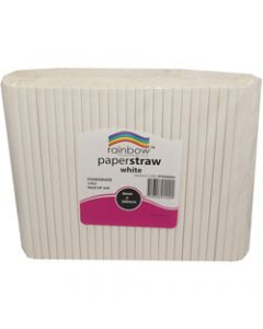 RAINBOW PAPER STRAWS,8MM,WHITE Pack of 250