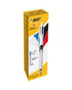 BIC 4 Colours Multi-Function,Pen 3 Ballpoint and 1 Pencil,Assorted Pack of 12