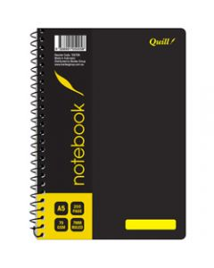 Quill Notebook,70gsm PP A5,Black 200 Pages