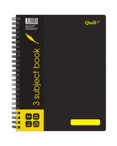 Quill 3 Subject Book,70gsm PP A4,Black 300 Pages