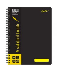 Quill 5 Subject Book,70gsm PP A4,Black 250 Pages