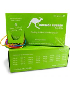 BOUNCE RUBBER BANDS®,ASSORTED SIZES AND COLOURS,100GM BOX