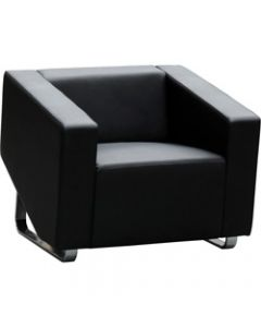 CUBE LOUNGE,W 860 x H 880 x D 720mm,Black Leather