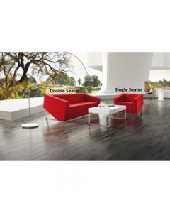 CUBE LOUNGE,W 1430 x H 880 x D 720mm,Red Leather