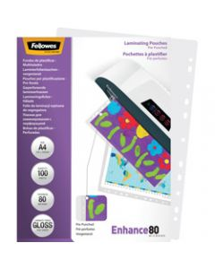 FELLOWES IMAGELAST,Laminating Pouch A4 80 Micron,Pre-Punched Pack of 100