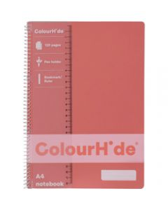 COLOURHIDE NOTEBOOK,A4 120 Page,Coral