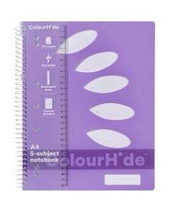 COLOURHIDE NOTEBOOK,A4 5 Subject 250 Page,Purple