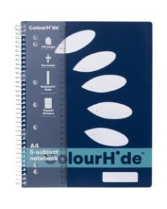 COLOURHIDE NOTEBOOK,A4 5 Subject 250 Page,Navy