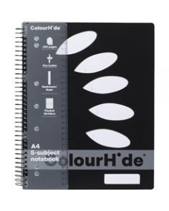 COLOURHIDE NOTEBOOK,A4 5 Subject 250 Page,Black
