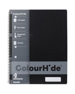 COLOURHIDE NOTEBOOK,A4 Lecture 140 Page,Black