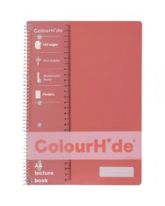 COLOURHIDE NOTEBOOK,A4 Lecture 140 Page,Coral