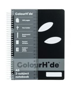 COLOURHIDE NOTEBOOK,A5 2 Subject 300 Page,Black
