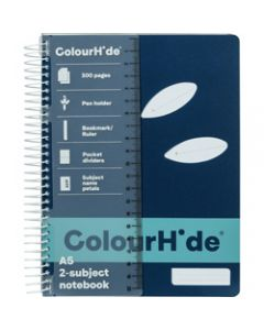 COLOURHIDE NOTEBOOK,A5 2 Subject 300 Page,Navy