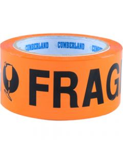 Cumberland Warning Tape,48mm X 66m Fragile,Orange Black Pack Of 6