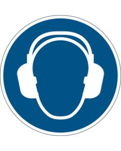 DURABLE SAFETY SIGN -,USE EAR PROTECTION,Blue