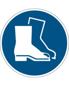 DURABLE SAFETY SIGN -,USE FOOT PROTECTION,Blue