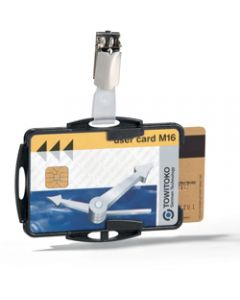 DURABLE ID CARD HOLDER DUO,WITH CLIP Black,Pack of 25