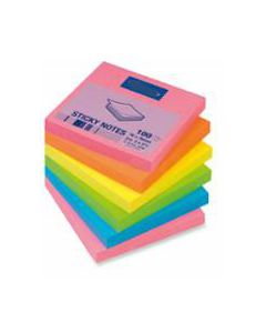New Sticky Notes 76X76 Asst Bright Pkt-6