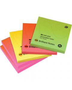 MARBIG NOTES,Brilliant 75mm x 75mm,Assorted 400 Sheets Pack