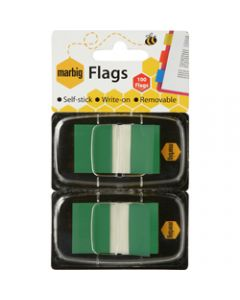 MARBIG FLAGS POP-UP,Transparent 25mm x 44mm,Green 100 Sheets Pack