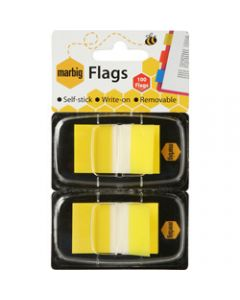MARBIG FLAGS POP-UP,Transparent 25mm x 44mm,Yellow 100 Sheets Pack