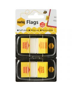 MARBIG FLAGS POP-UP,SIGN HERE 25mm x 44mm,Yellow 100 Sheets Pack