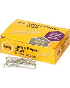 MARBIG PAPER CLIPS,Large 33mm Chrome,Box of 100