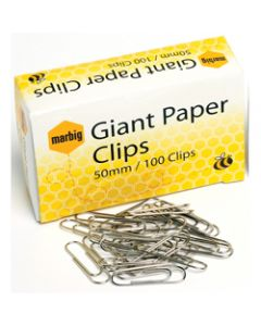 MARBIG PAPER CLIPS,Giant 50mm Chrome,Box of 100