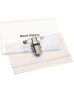 REXEL CONVENTION CARD HOLDERS,With Pin & Clip,Box of 50