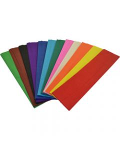 RAINBOW CREPE PAPER 500mm x 2.5m Assorted Pack of 12