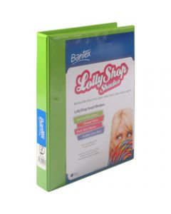 Bantex Lolly Shop Insert,Binder PVC A4 2D Ring 25mm,Gummy Bear Green