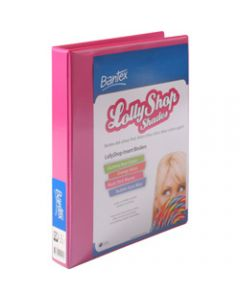 Bantex Lolly Shop Insert,Binder PVC A4 2D Ring 25mm,Musk Stick Pink