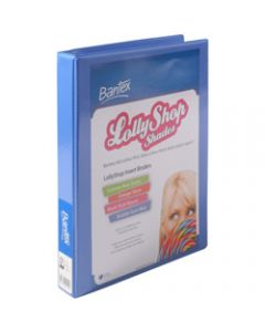 Bantex Lolly Shop Insert,Binder PVC A4 2D Ring 25mm,Bubble Gum Blue