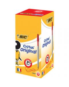 BIC CRISTAL BALLPOINT PENS,Medium Red Pack of 50