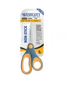 Westcott Scissors,Titanium Bonded Straight,Handle 203mm Non Stick Grey