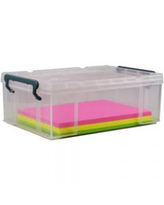 ITALPLAST STACKA STORAGE BOX,10 Litre with Lid,Clear
