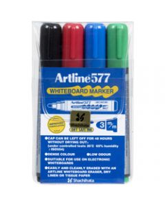 ARTLINE 577 WHITEBOARD MARKERS Bullet Assorted Colours Pack of 4