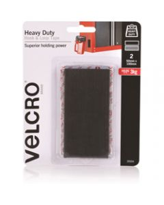 VELCRO BRAND STICK ON,Hook And Loop Heavy Duty,50x100mm Black Pack of 2